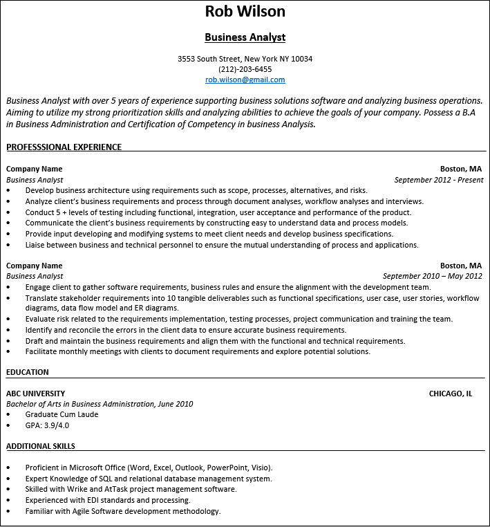 company resume samples